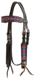 Showman ® Dark chocolate Argentina cow leather headstall w/beaded inlays.