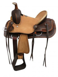 "13"" Double T Youth hard seat roper style saddle with basket tooled leather."