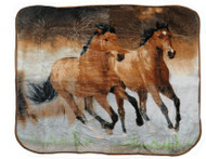 "Showman Couture ™ Luxury plush throw blanket with desert running horses print. 50"" x 60""."