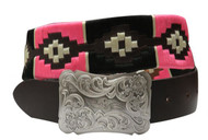 Showman Couture ™  pink and cream wrap embroidered belt