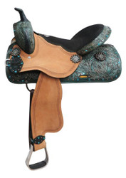"16"" Double T  barrel style saddle with spur rowel conchos."