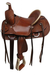 "13"" Double T hard seat roper style saddle with basket tooling."