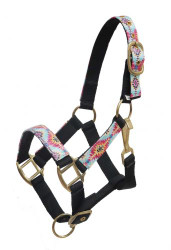 Showman ® PONY Halter with multi color Navajo print overlay.