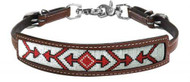 Showman ® Medium leather wither strap with red beaded arrow design inlay.