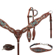 Showman ® Navajo beaded headstall, breast collar and wither strap set.
