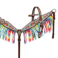 Showman ® Rainbow tye dye headstall and breast collar set.