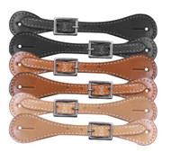 "Youth leather spur straps. Easily adjust with nickel plated buckle 6""-8""."