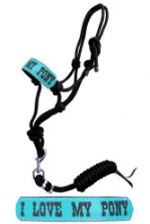 "Showman ® Pony size rope halter with turquoise leather noseband with "" I love My Pony""."