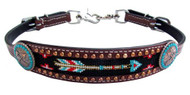 Showman ® Medium leather wither strap with arrow beaded inlay.