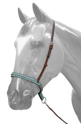 Showman ® Adjustable Teal Filigree Noseband and Tie Down.