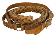 Showman ® 7ft Argentina cow leather contest reins.