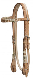 Showman™  double stitched floral tooled rawhide braided leather headstall with reins.