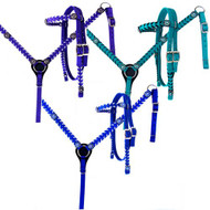 Showman ® Nylon headstall and breast collar set with stitched trim and crystal rhinestone conchos.