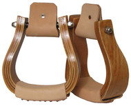 Showman Curved Wooden Stirrup with Leather Tread