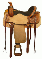 "16"" Blue River Micro-Fiber Suede Snakeskin Design Seat Roping Saddle"