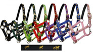 """Cobb size nylon halter with """"running horse"""" overlay. Halter has neoprene lined nose and crown. Comes with eyelets on crown. Has adjustable nose and throat latch."""