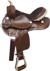 """10"""" Fully tooled Double T pony saddle."""