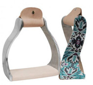Showman ® Lightweight twisted angled aluminum stirrups with shimmering teal Aztec print.