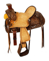 "12"" Double T Youth hard seat roper style saddle w/basket and floral tooled leather."