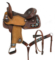 "14"", 15"", Double T  barrel style saddle set with embroidered Navajo."