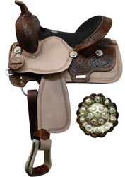 "13"" Double T youth saddle with floral tooled pommel, cantle, and skirt."
