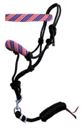 Showman ® American Flag Beaded nose cowboy knot rope halter.