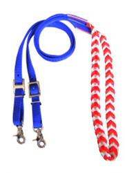 Showman ® Premium Red, White, and Blue braided nylon contest reins.