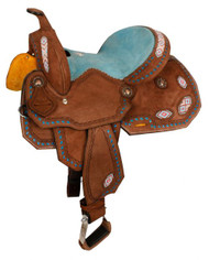 "13"" Double T Youth/Pony Chocolate Roughout Barrel Saddle with pink and turquoise beaded inlay and turquoise buckstitch."