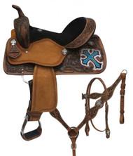 """14"""", 15"""", 16"""" Double T  barrel style saddle set with metallic cross."""