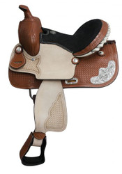 "13"" Double T Basketweave Tooled Youth Saddle"