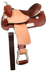 "13"" Double T Youth Saddle With 3/4"" Half Breed Suede Leather Seat"