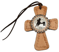 Light Oil Tie on Leather Cross with Silver Barrel Racer Concho
