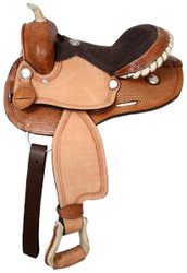 "12"" Double T Round Skirt Youth Saddle With Suede Leather Seat"