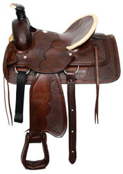 "16"" Basketweave Tooled Buffalo Roper Style Highback Hardseat Saddle"