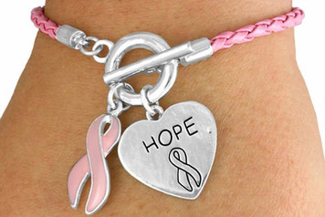 Braided Pink Awareness Toggle Bracelet