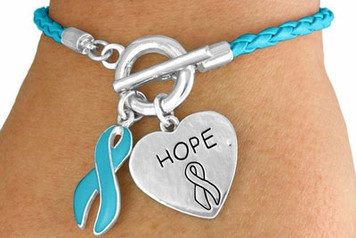 Braided Teal Awareness Toggle Bracelet