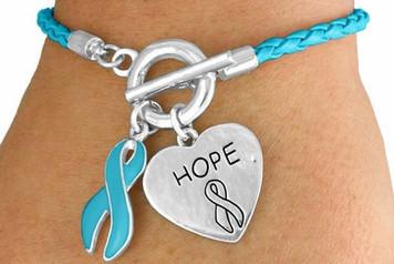 Braided Teal Awareness Toggle Bracelet