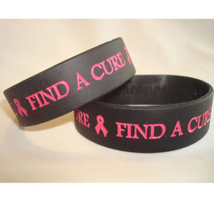 Pink & Black Wide  Find A Cure Wristband - 5 Pack