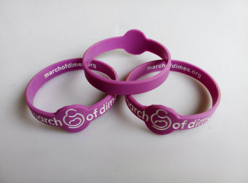 March of Dimes Logo  Wristbands - Adult Size - 10 Pack