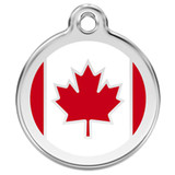 Canadian Flag Dog ID Tag, Red, White Enameling, Stainless Steel
