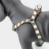 Polka Dot Step In Dog Harness in Blue