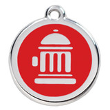 Fire Hydrant Dog ID Tag, Red Enameling, Stainless Steel Name Tag