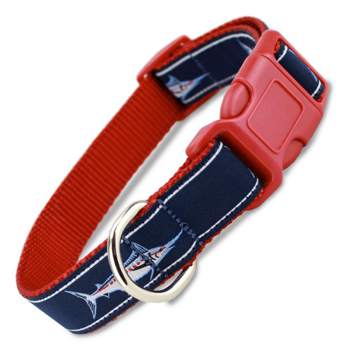 Marlin fish dog collar quick release snap on style buckle for Fish dog collar