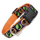 Halloween Dog Collar with Bats, Ghosts, Skulls, Snap on Buckle