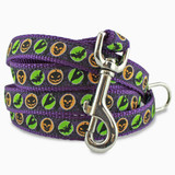 Halloween Dog Leash, Bats & Ghosts, 4', 5', 6' Long, D-ring, Nylon, Purple