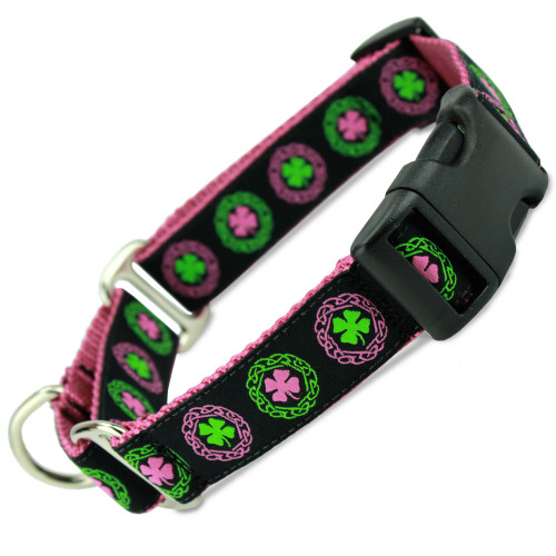 Irish Buckle Martingale Collar, Limited Slip Safety Collar, Pink