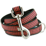Buffalo Plaid Dog Leash, Red & Black Flannel Check