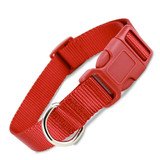 Custom Red Nylon Quick Release Dog Collar