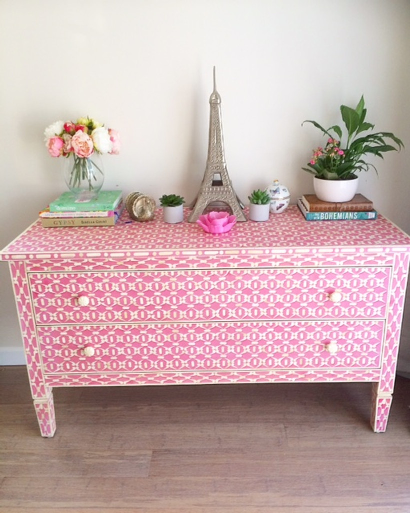 Pink Bone Inlay Console Chest