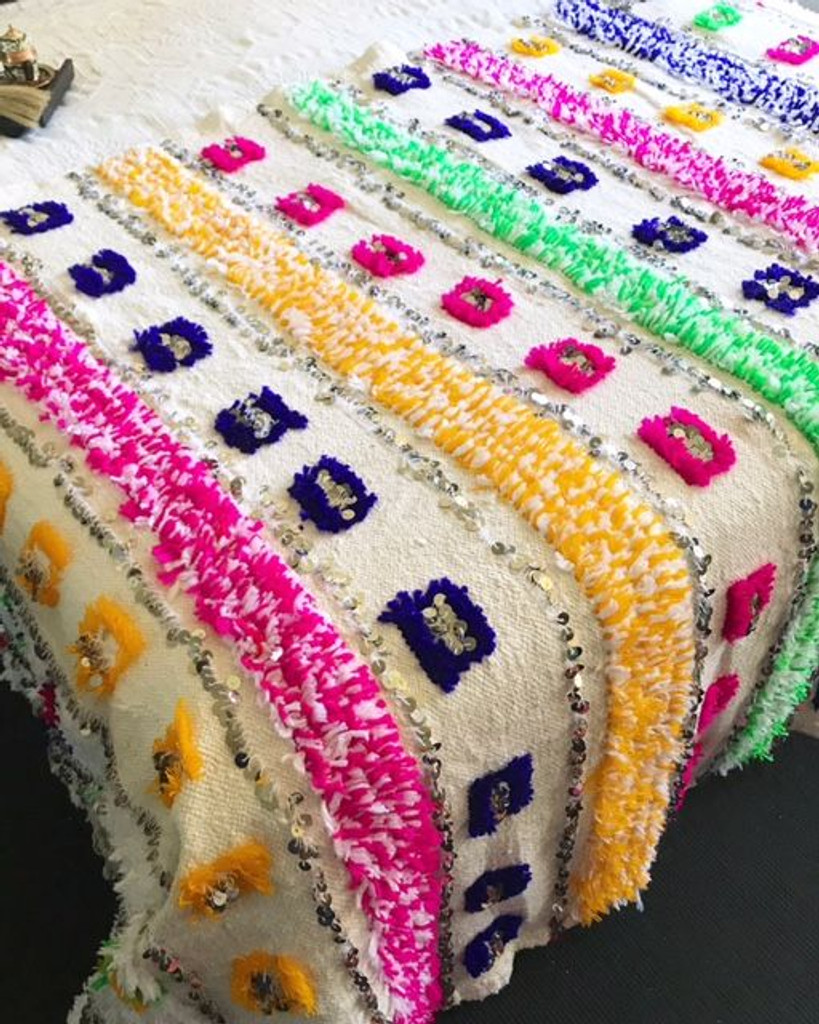 """""""Happiness"""" Moroccan Wedding Blanket"""